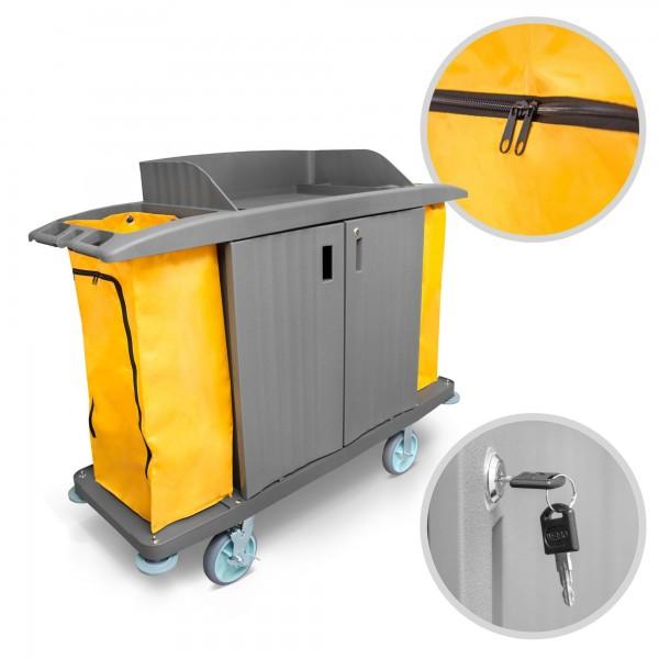 Pojízdný servisní vozík uzamykatelný, úklidový, 3 poličky, 2 pytle