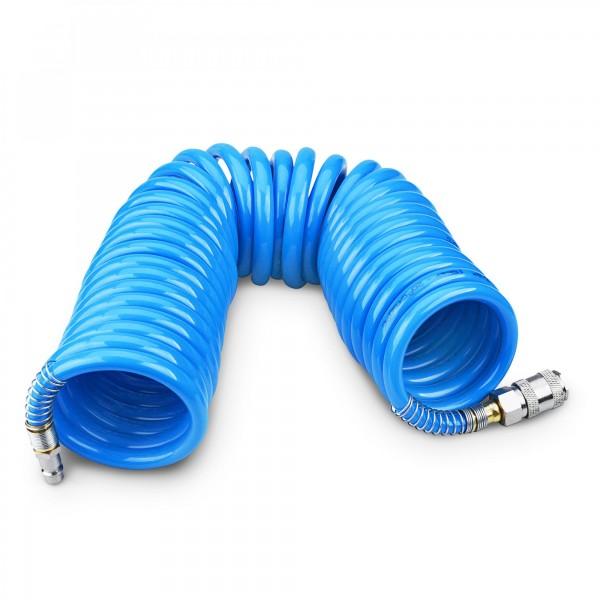 8 m hadice vzduchová spirálová PU 8 mm s mosaznými rychlospojkami