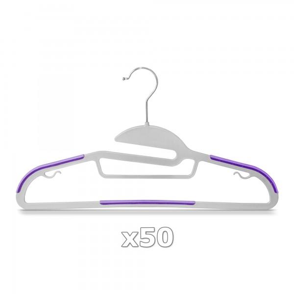 Plastové ramínko na oděvy fialové 50 ks