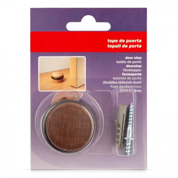 Dřevěná dveřní zarážka kulatá s gumovým kroužkem - našroubovatelná