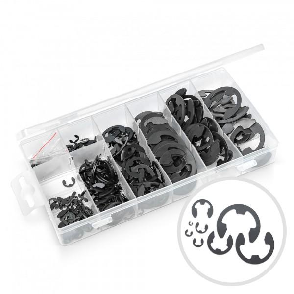 300 ks pojistné kroužky v úložném boxu 1,5-22 mm